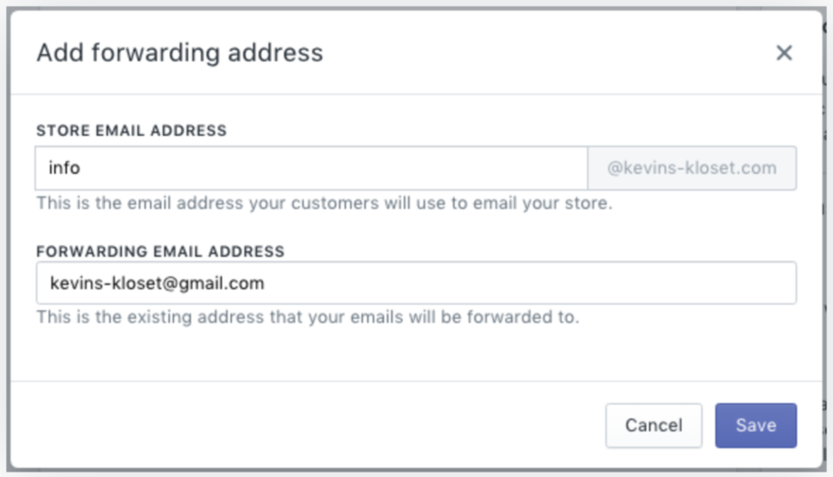 Shopify email forwarding confirm