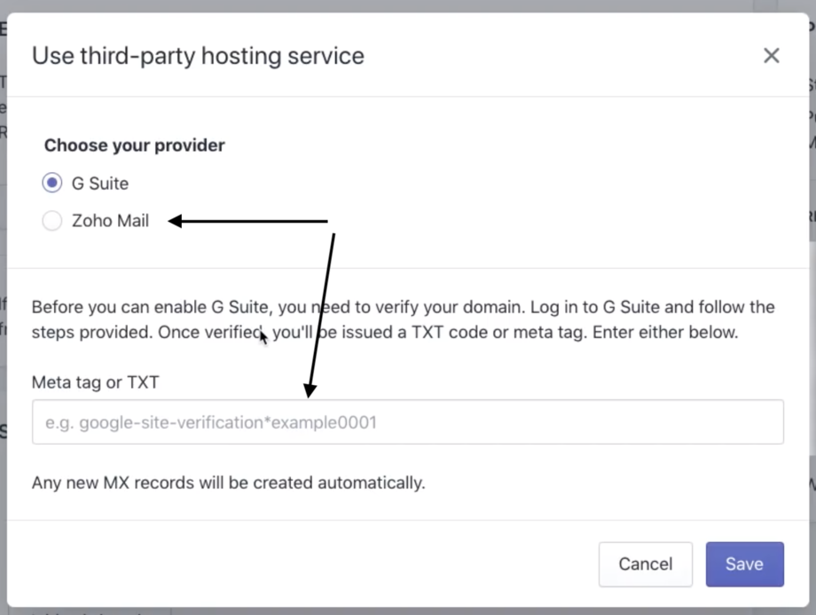 Verify Shopiy Zoho third-party email service, add TXT record
