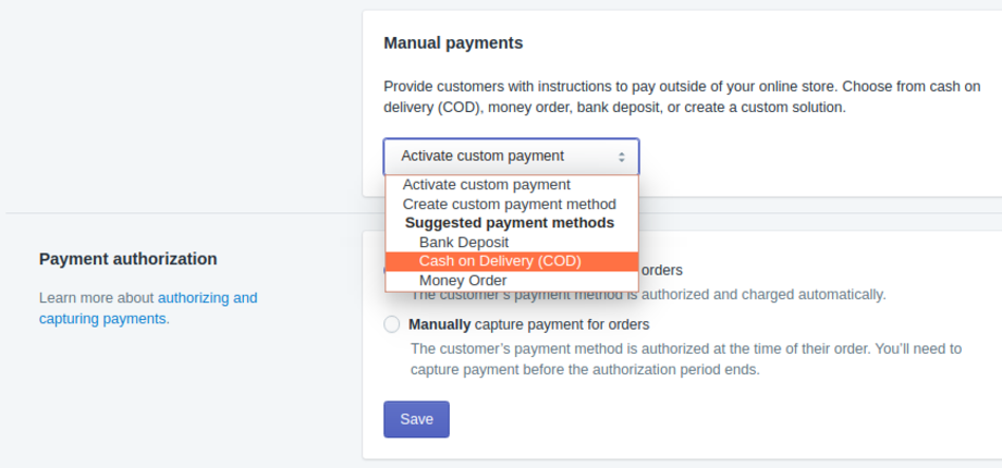 Shopify Manual Payments