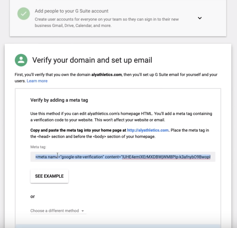 Shopify Google verification meta tag
